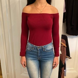 Red off the shoulder body suit